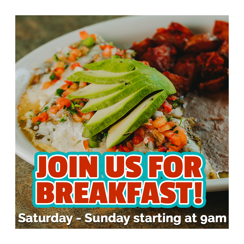 Join us for breakfast! Saturday through Sunday starting at 9am!